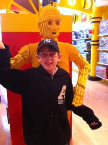 Bailey, last spring,  with a Lego-version of C3PO