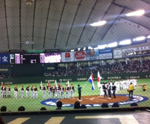 Before the game, they played the Japanese National Anthem as well as the one from the Netherlands.