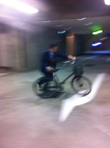 parking lot bike man