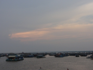 The floating village on the Tanle Sap Lake at sunset