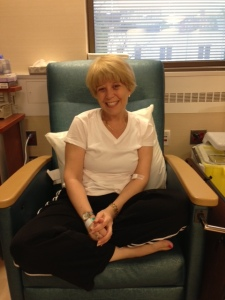 In the big recliner in the chemo room