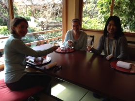 Tomoko, Marlene, and me enjoying a glass of umeshu, plum wine in our private tatami room.