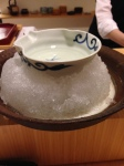 This is how they serve the sake - on a bed of ice to keep it chilled for us.